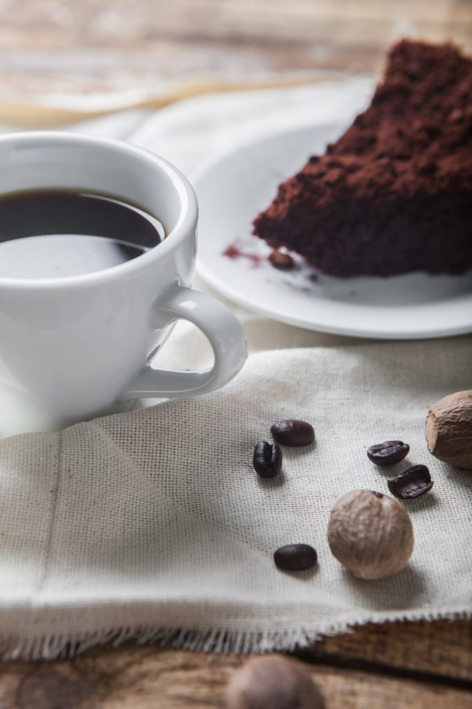 Chocolate cake and coffee