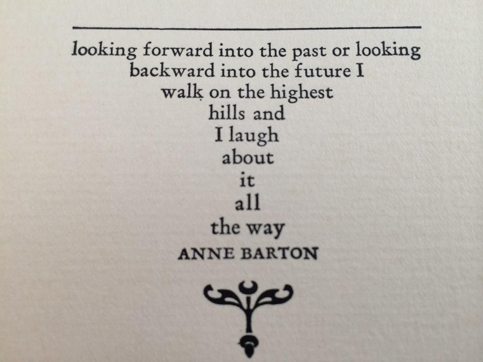 Beautiful Anne Barton quote