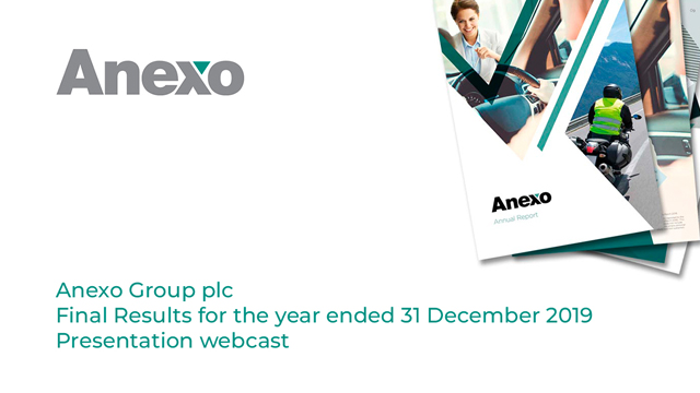 Anexo Group plc - Final Results for the year ended 31 December 2019 - Presentation webcast
