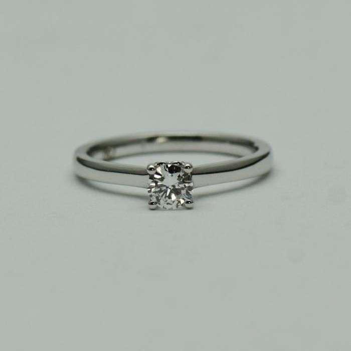 Inel De Logodna Aur Alb 18k, Cu Diamant (cod 2831)