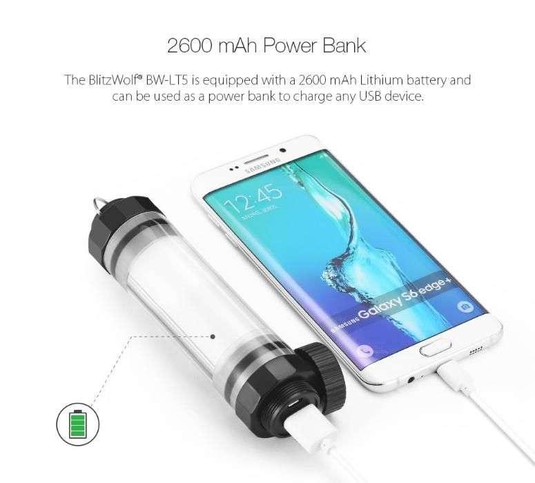 Lanterna Led Powerbank 2600mAh BlitzWolf BW-LT5 IP68 Rezistenta La Apa