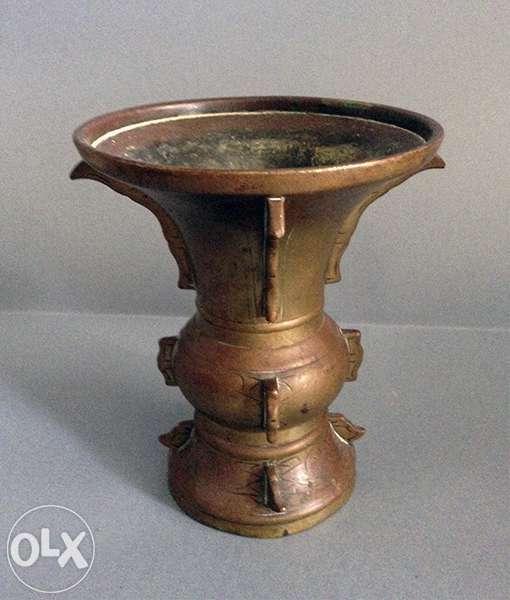 Vas De Templu China Sec. XIX Bronz Masiv Redus Cu 150 Lei