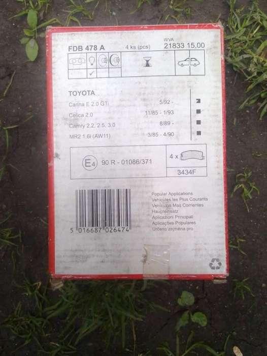 Placute Frana Noi Pt Toyota Carina Celica Camry 93