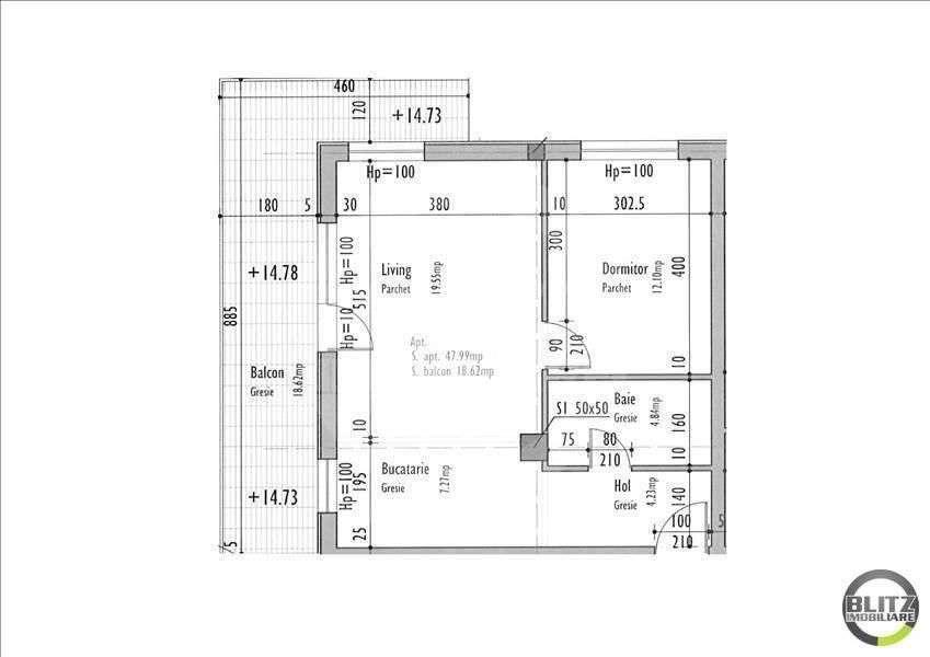 2 Camere, 47,99 Mp, Semifinisat, Zona Strazii Taietura Turcului