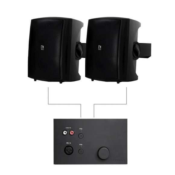 Vand Sistem Audio 2 Boxe Active + Mixer De Perete LW523