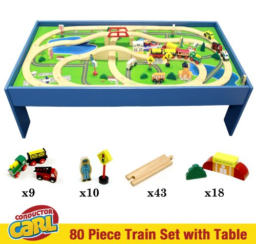 Conductor Carl 80-piece Wooden Toy Train Table Playboard and Train Set  sc 1 st  eBay & Conductor Carl 80-piece Wooden Toy Train Table Playboard and Train ...