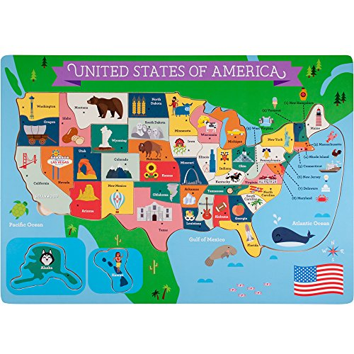 Details about Professor Poplar\'s Fifty Nifty United States USA Map Wooden  Jigsaw Puzzle