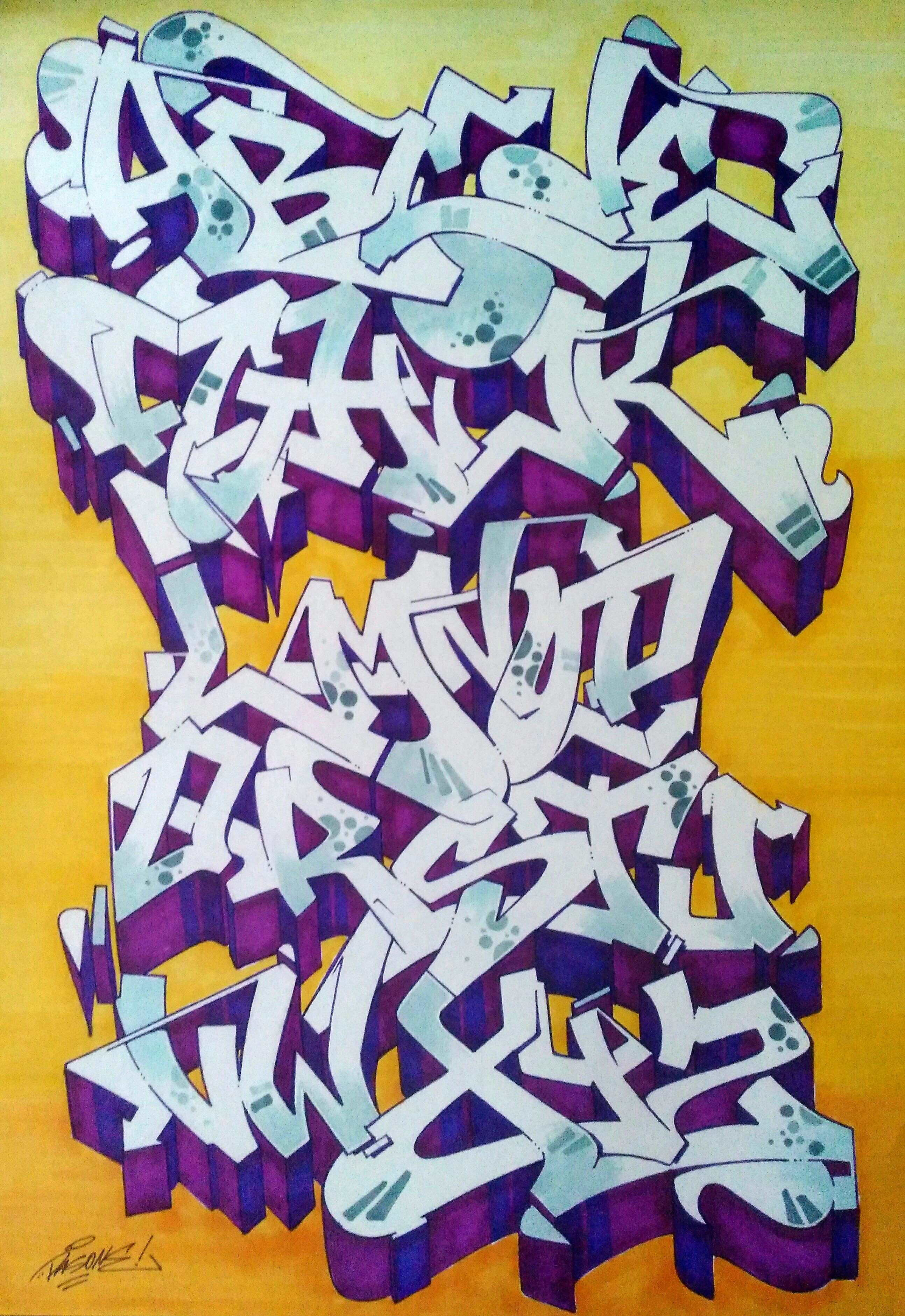 Graffiti alphabet 26 letters of style 4 bombing science - Graffiti alfabet ...