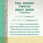 Week of August 7—Paul Warned Timothy About Greed—Social Media Plan