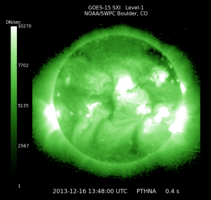 Space weather as seen from NOAA's GOES-15 satellite.