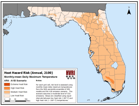 Heat Hazard Risk and a Medical Vulnerability Index (Florida)