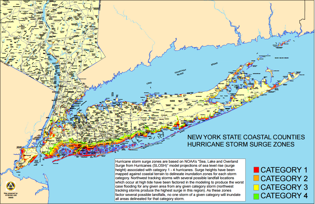 Hurricane Storm Surge Zones (New York State)