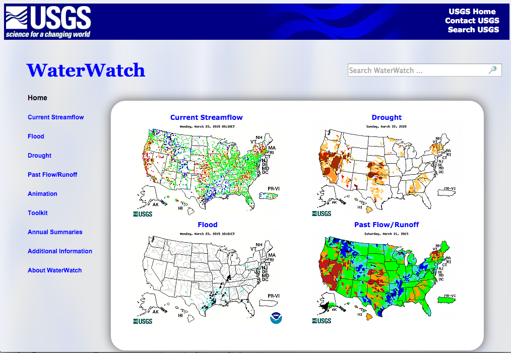 Water Watch - Stream flowflow data