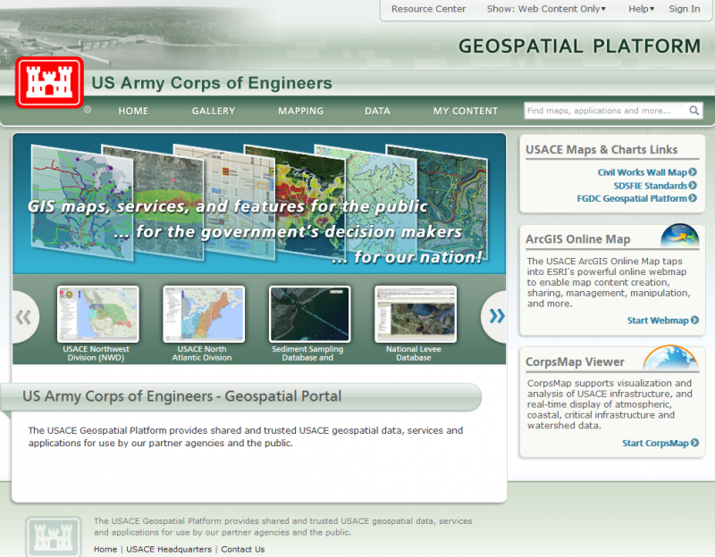 U.S. Army Corps of Engineers Geospatial Open Data