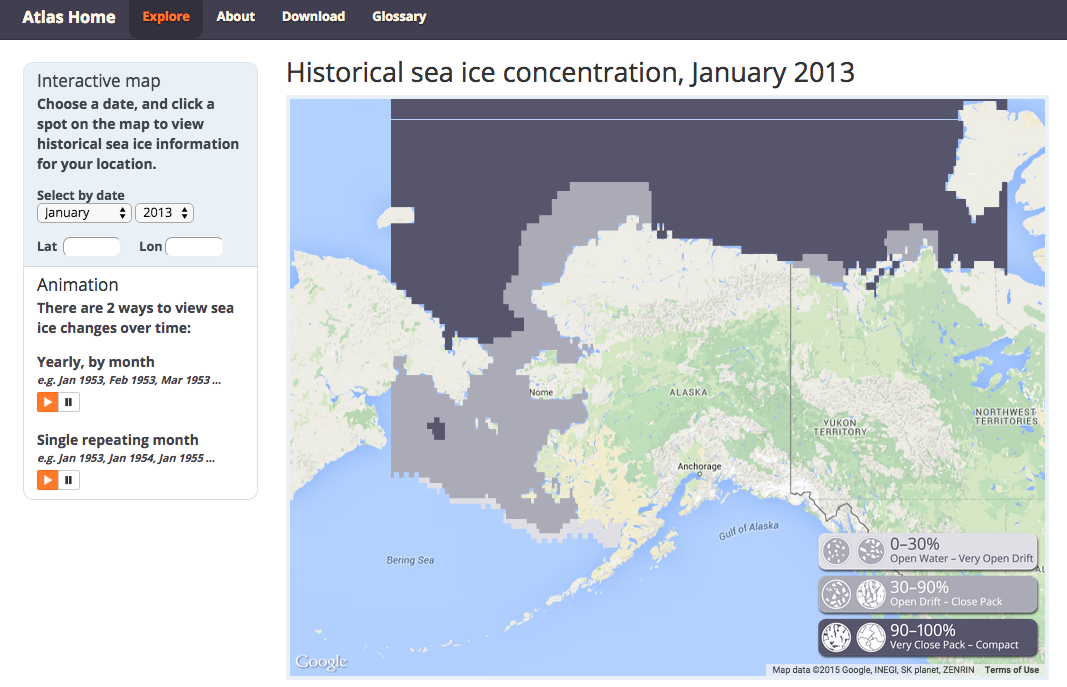 Sea Ice Atlas: Historical sea ice concentration