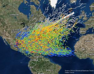 Historical map of hurricane tracks over the Atlantic Ocean