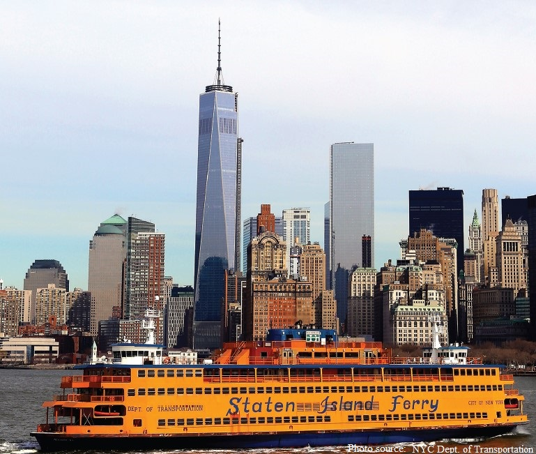 Staten Island Ferry with the New York City skyline in the background.