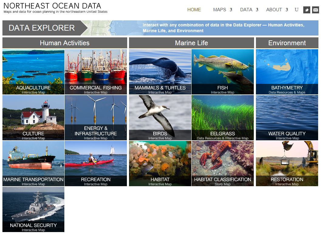 Image from the Northeast Ocean Data Portal Homepage