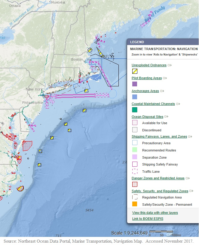 Northeast Ocean Data portal, Navigation Map