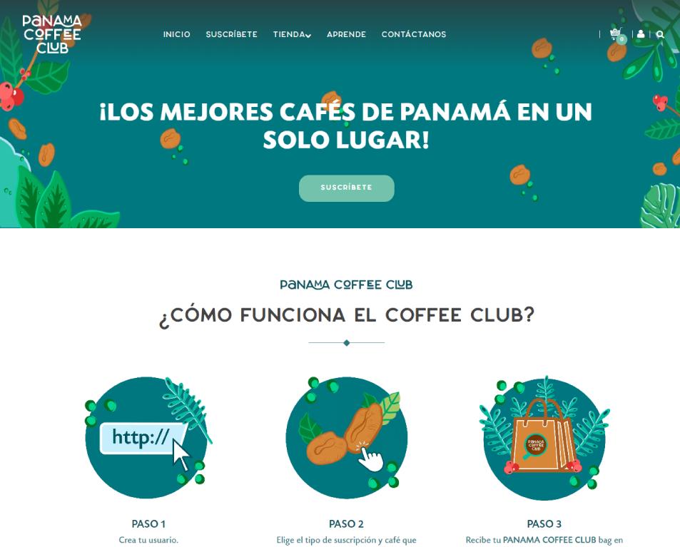 panama coffee club vista del home page