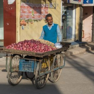 Man in India selling onions