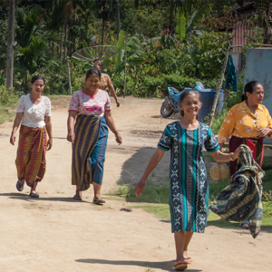 Women walking in an Indonesian village