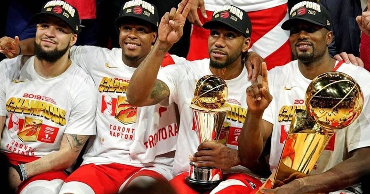 Toronto Raptor Serge Ibaka and the Larry O'Brien trophy are in Toronto this week