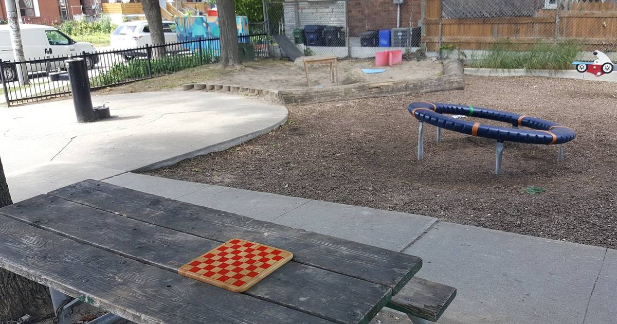Someone is placing chess boards all around a Toronto neighbourhood