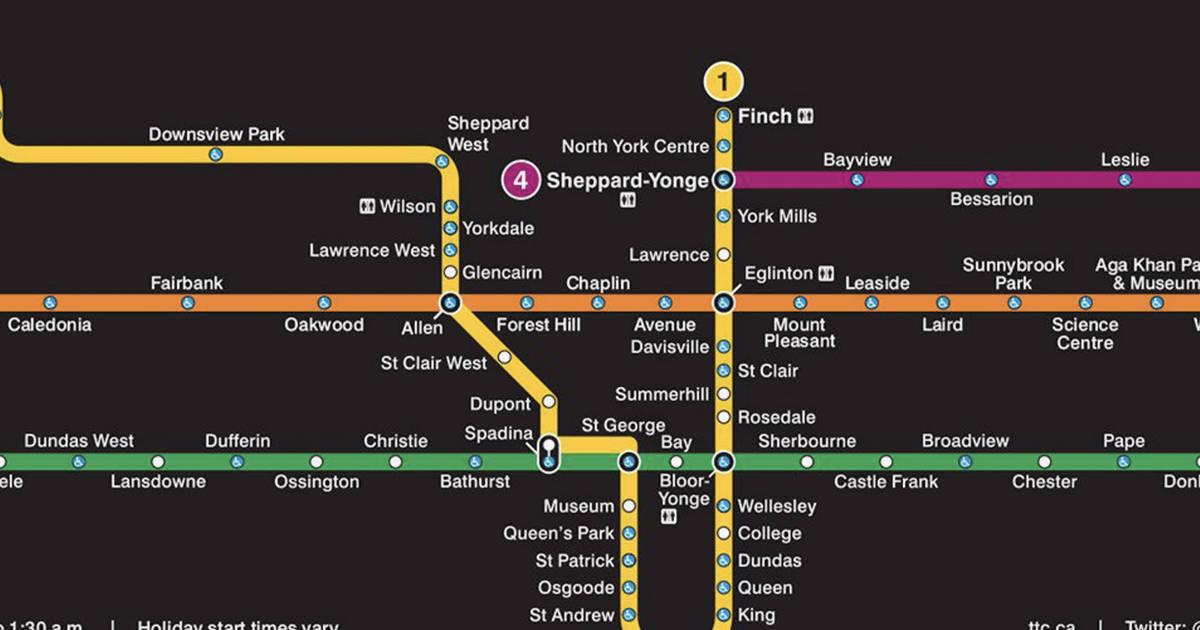 これは、2021年のTTC地下鉄マップの外観です