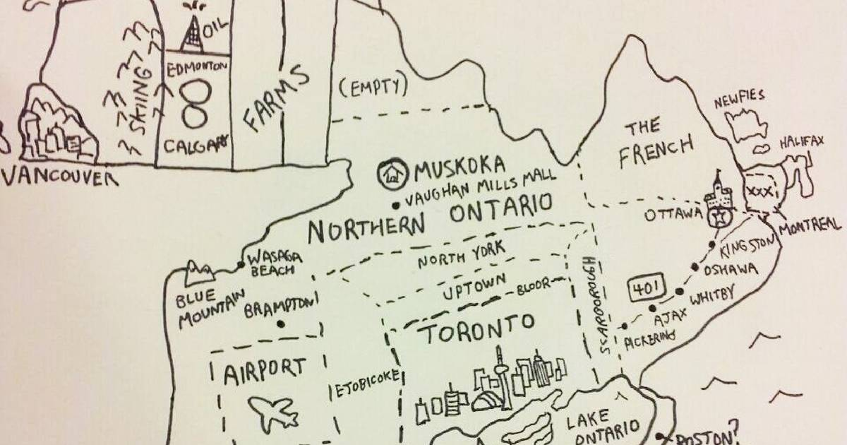 Someone drew a map of what Toronto looks like as the centre of the universe