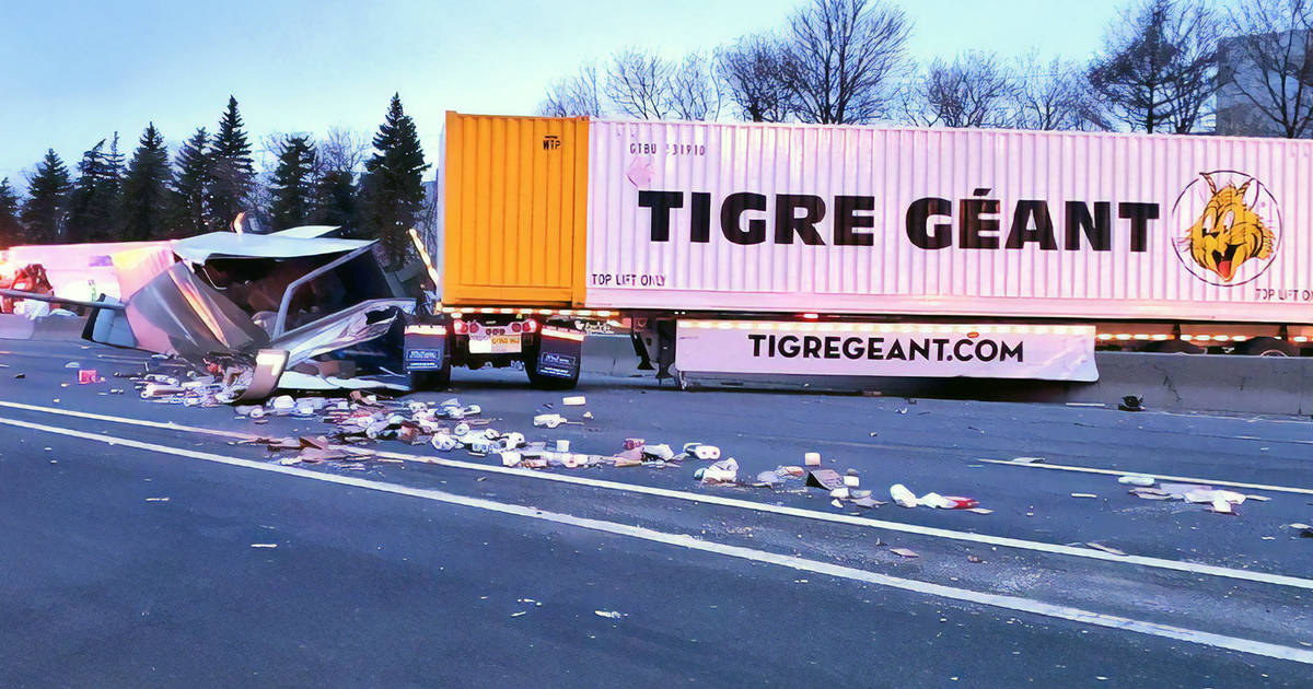 Truck rollover spills groceries all over Highway 401