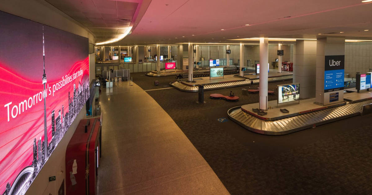 The airport in Toronto is now almost completely empty