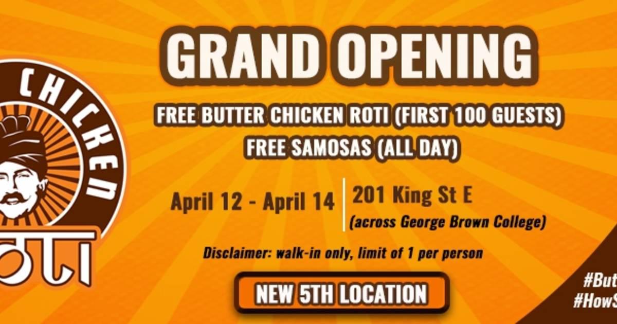 Free Roti & Samosas at Butter Chicken Roti