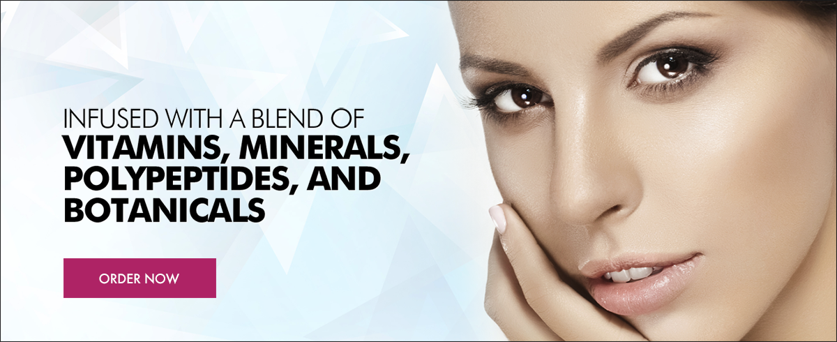 Infused with a blend of vitamins, minerals, polypeptides, and botanicals.
