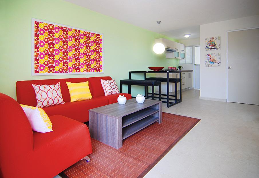 amplia sala de departamento modelo Forteza en Davivir en Tecamac