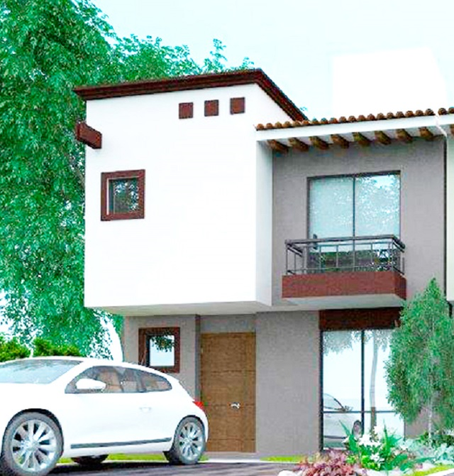 Fachada de casa modelo Abadía de Dos Valles Querétaro.