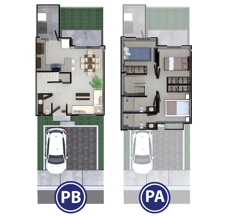 Plano de plantas casa modelo Abadía en Dos Valles Querétaro.