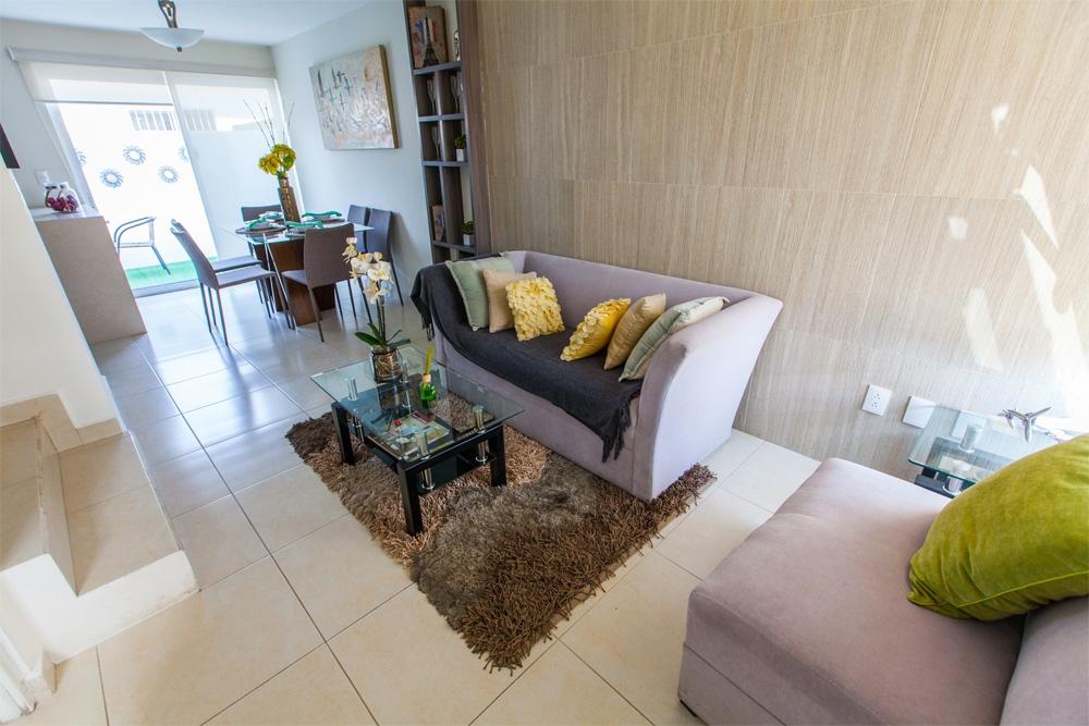 Amplia sala del modelo Javer B en Residenza privadas en Coacalco