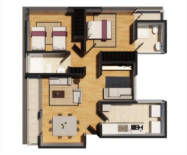 plano de bonito departamento de Arquitectura Inteligente en Los Reyes