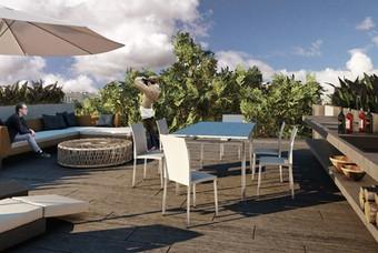 Fotografía de exclusiva terraza en departamento de Class División del Norte