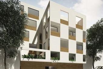 Bonita fachada de departamentos en Class Verona