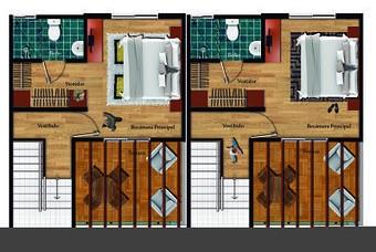 Plano de segundo nivel de casa modelo Recinto premium en el centro de Pachuca de Paseos de la plata.