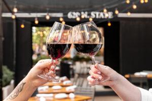 Wine on the patio at Osteria Via Stato