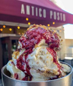 Blueberry cheesecake gelato at Antico Posto