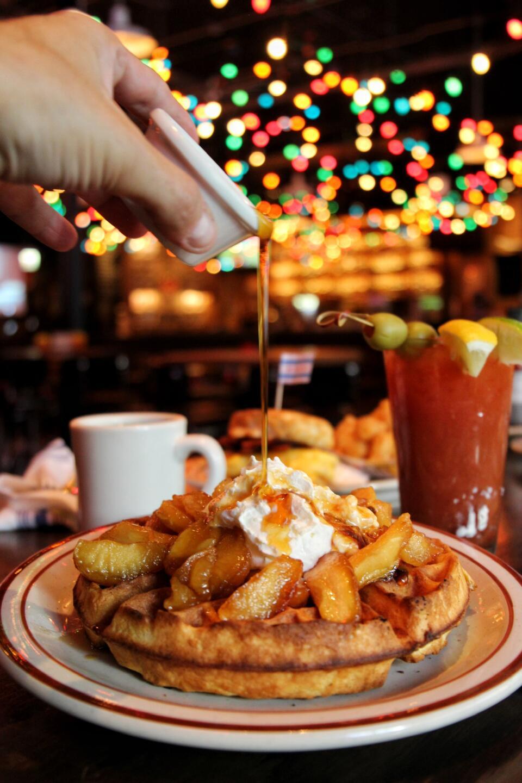 Bub City Waffles with Cinnamon Apple, bloody mary