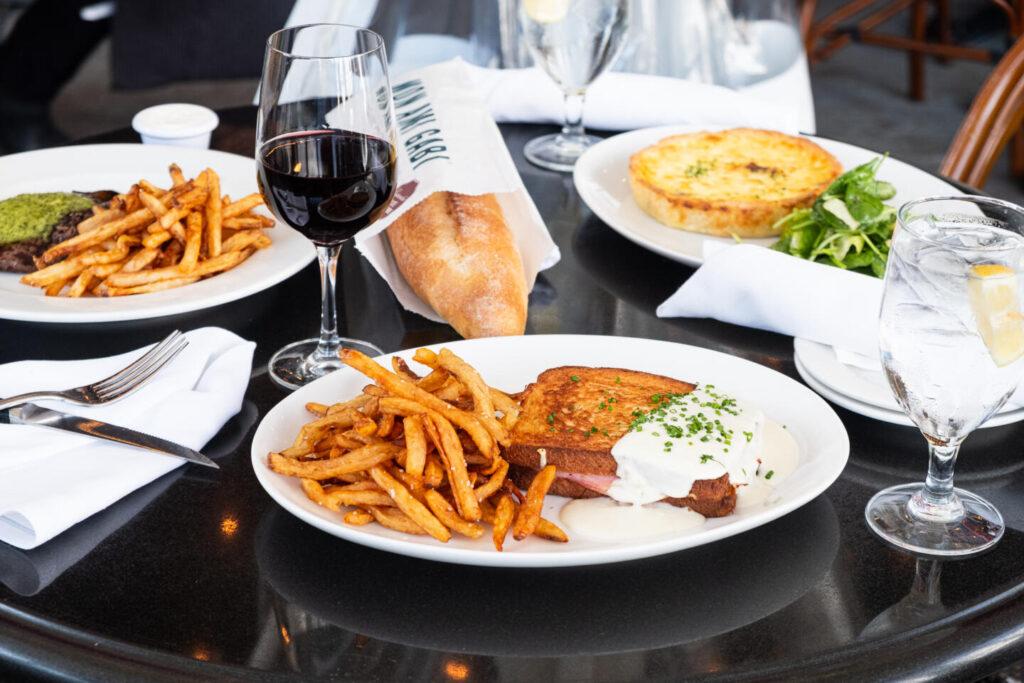 Mon Ami Gabi Croque Monsieur with ham gruyere cheese and mornay sauce