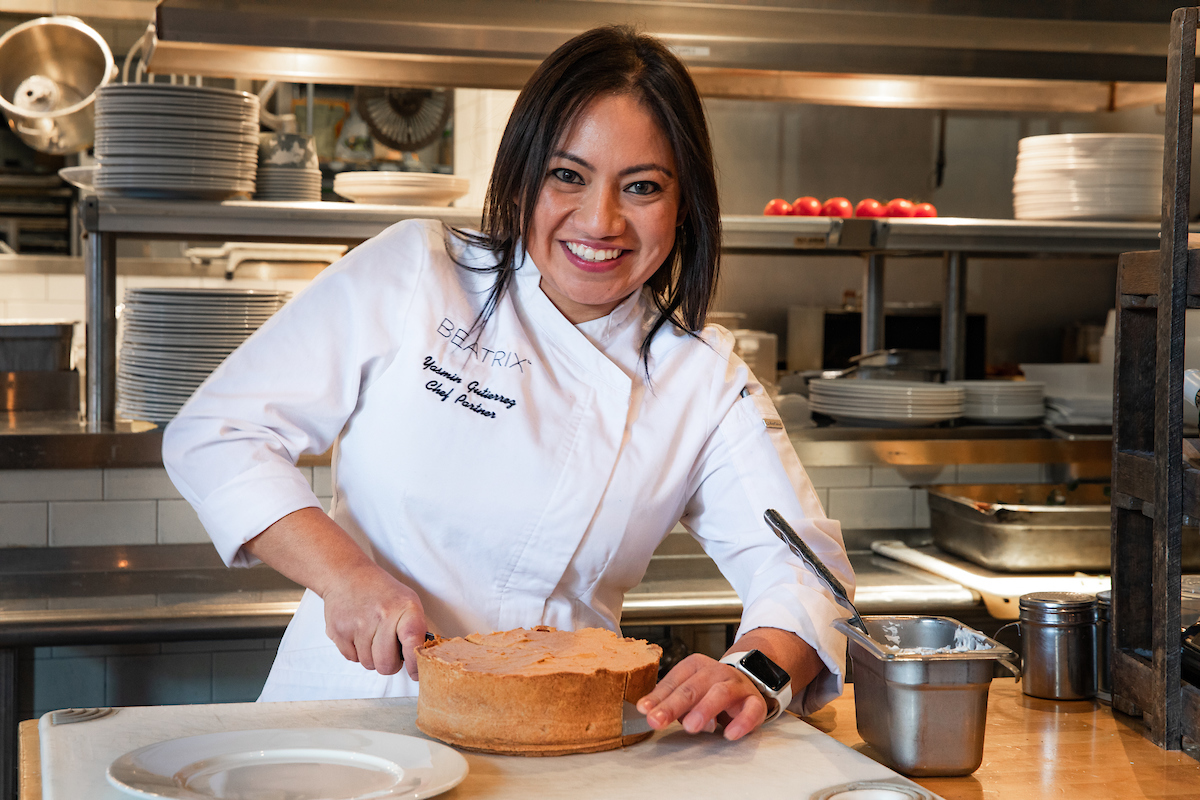 Chef Yasmin making a cake at Beatrix