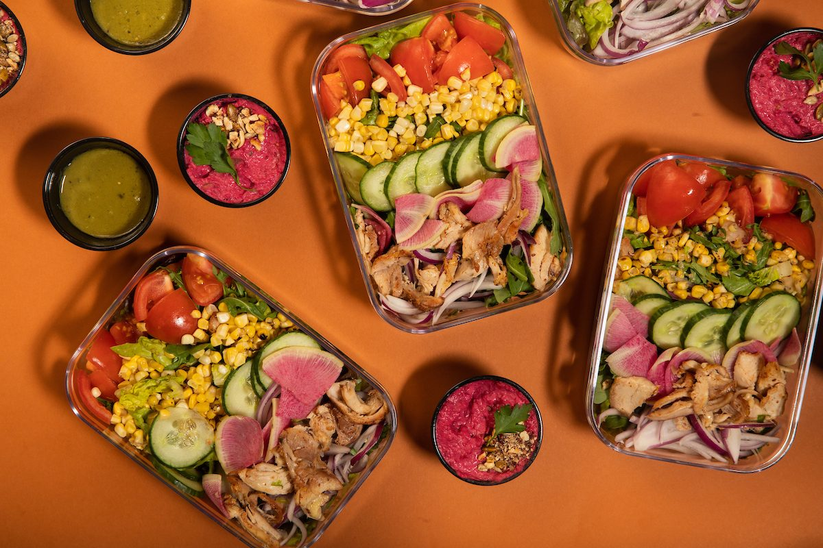 meal prep salads with sauces