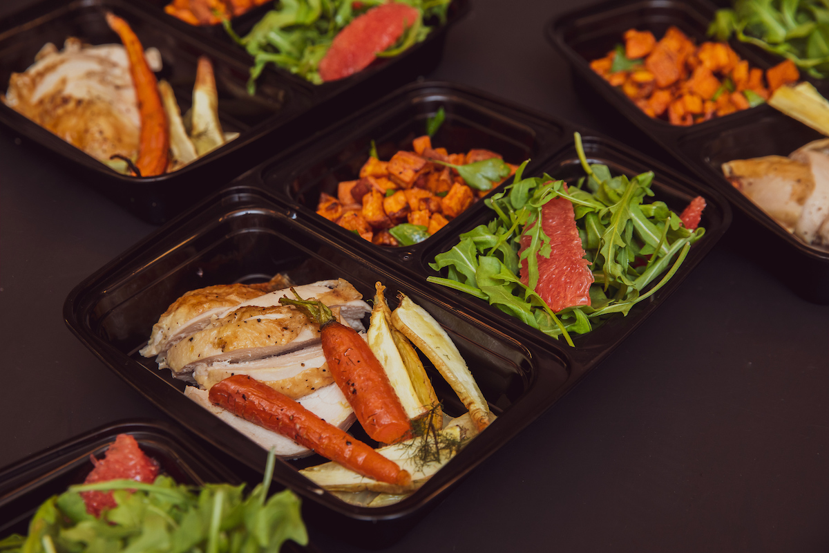 Chicken sweet potatoes and arugula salad