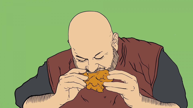 Illustration of Jason Hollembeak eating fried chicken